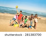 group of multiracial happy... | Shutterstock . vector #281383700