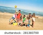 group of multiracial happy... | Shutterstock . vector #281383700