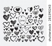 hearts icon set. hand drawn... | Shutterstock .eps vector #281390243