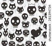 skull seamless pattern. vector... | Shutterstock .eps vector #281394734