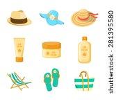 sun creams. hats. beach... | Shutterstock .eps vector #281395580