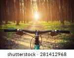 mountain biking down hill... | Shutterstock . vector #281412968