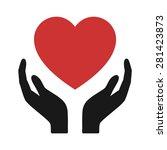 healthcare hands holding heart... | Shutterstock .eps vector #281423873