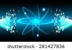 dark blue shining atom scheme....   Shutterstock .eps vector #281427836