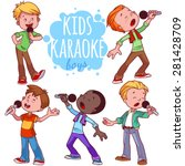 cartoon children sing with a... | Shutterstock .eps vector #281428709
