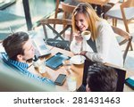 young people talking over... | Shutterstock . vector #281431463