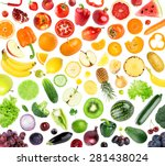 collection of fruits and... | Shutterstock . vector #281438024