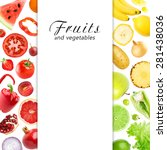mixed fruits and vegetables.... | Shutterstock . vector #281438036