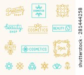 Vector set of linear design elements and logos for beauty shops and cosmetic industry - mono line lettering | Shutterstock vector #281444258