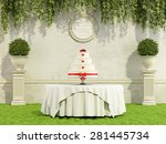 wedding cake on round table in... | Shutterstock . vector #281445734