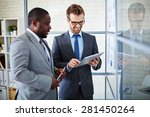 two businessmen browsing in the ... | Shutterstock . vector #281450264