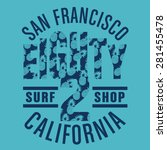 surf sport pineapple ... | Shutterstock .eps vector #281455478
