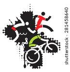 extreme sport triathlon. three... | Shutterstock .eps vector #281458640