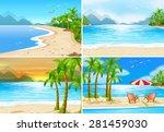 four beach scenes in different... | Shutterstock .eps vector #281459030