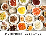 different products on saucers... | Shutterstock . vector #281467433