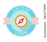 compass flat icon with long...
