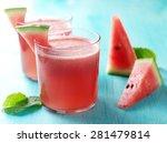 watermelon lemonade with mint...   Shutterstock . vector #281479814