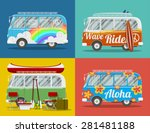 four old hippie vans with... | Shutterstock .eps vector #281481188