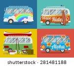 four old hippie vans with... | Shutterstock .eps vector #281481188