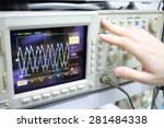 Small photo of Modern device oscilloscope with airwaves