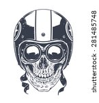 dotwork styled rider skull with ... | Shutterstock .eps vector #281485748