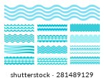 collection of marine waves. sea ... | Shutterstock .eps vector #281489129
