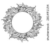 black and white doodle floral... | Shutterstock . vector #281491154