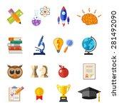 online education flat icon set... | Shutterstock .eps vector #281492090