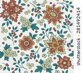 vector seamless floral pattern | Shutterstock .eps vector #281492414