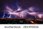 lightning storm over city in... | Shutterstock . vector #281493026