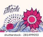 floral card. hand   drawn... | Shutterstock .eps vector #281499053