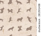 dog breeds silhouettes  vintage ...   Shutterstock .eps vector #281501438