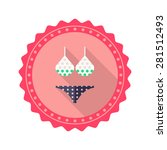 bikini flat icon with long...