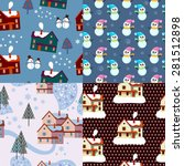 color set of xmas winter... | Shutterstock .eps vector #281512898