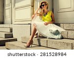 beautiful blonde young woman... | Shutterstock . vector #281528984