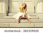 beautiful blonde young woman... | Shutterstock . vector #281529020