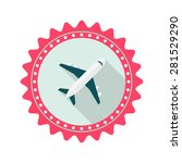 airplane flat icon with long...