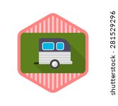 motorhomes flat icon with long...