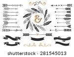 hand drawn vintage arrows ... | Shutterstock .eps vector #281545013