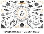hand drawn vintage decorative... | Shutterstock .eps vector #281545019
