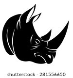 angry rhino head on the white... | Shutterstock .eps vector #281556650