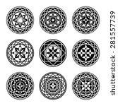 floral ornament tattoo set.... | Shutterstock .eps vector #281557739