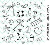 summer vacation tropical hand... | Shutterstock .eps vector #281569973