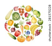 set of watercolor vegetables... | Shutterstock .eps vector #281570228