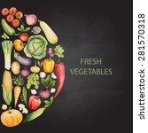 set of watercolor vegetables... | Shutterstock .eps vector #281570318