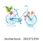 watercolor bicycle with flowers ... | Shutterstock .eps vector #281571554