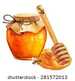watercolor honey jar and honey... | Shutterstock .eps vector #281572013