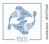 vector zodiac sign pisces ... | Shutterstock .eps vector #281575160