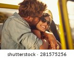 young man embracing and kissing ... | Shutterstock . vector #281575256