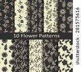 set of ten flower patterns   Shutterstock .eps vector #281575616
